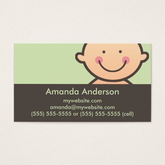 Baby Face Green & Brown Business Cards