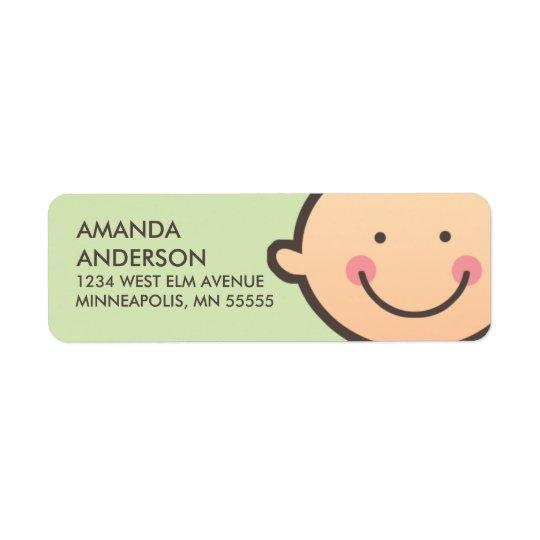 Baby Face Green Return Address Labels
