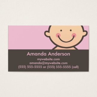 Baby Face Pink & Brown Business Cards