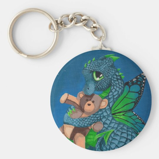 Baby Fairy Dragon Basic Round Button Key Ring