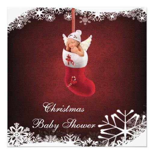 Baby Fairy in Christmas Stocking Baby Shower Custom Invite