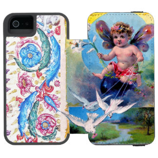 BABY FAIRY WITH DOVES ANTIQUE FLORAL INCIPIO WATSON™ iPhone 5 WALLET CASE