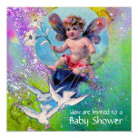 BABY FAIRY WITH DOVES IN SPARKLES Gold Yellow Custom Invitation