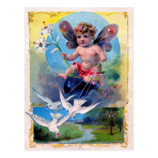BABY FAIRY WITH DOVES POSTCARD