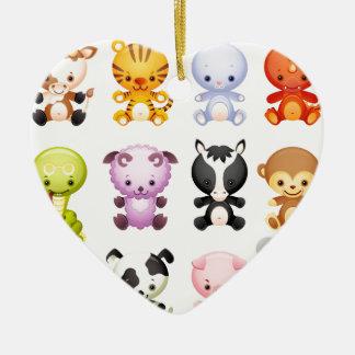 Baby Farm Animals Piggy Cow Mouse Snake Rabbit Ceramic Heart Decoration