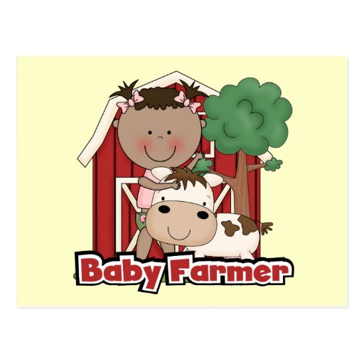 Baby Farmer With Cow Tshirts and Gifts Postcards