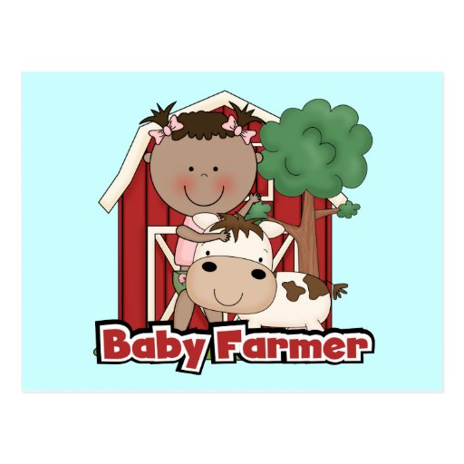 Baby Farmer With Cow Tshirts and Gifts Post Cards