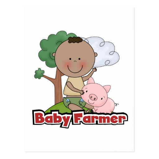Baby Farmer With Pig Tshirts and Gifts Post Card