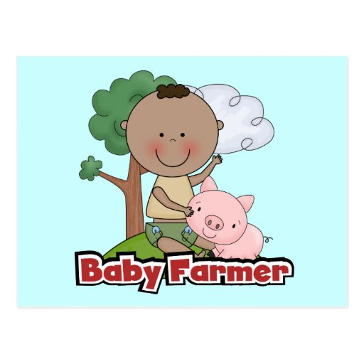 Baby Farmer With Pig Tshirts and Gifts Postcards