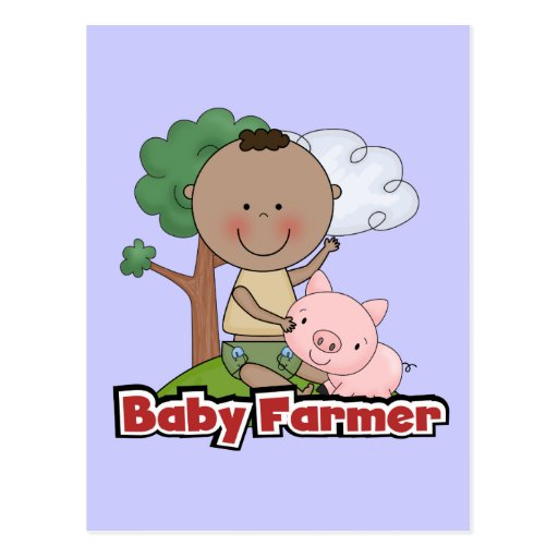 Baby Farmer With Pig Tshirts and Gifts Post Cards