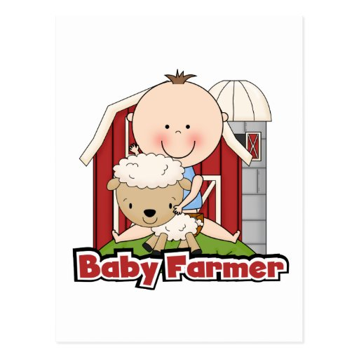 Baby Farmer With Sheep Tshirts and Gifts Post Card