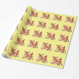 Baby Fawn and Mama Deer Cute Kitsch Wrapping Paper