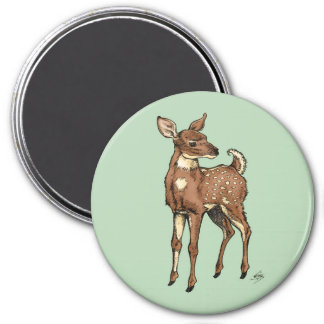 Baby Fawn with mint background 7.5 Cm Round Magnet
