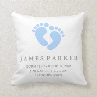 Baby Feet Baby Boy Birth Announcement Pillow
