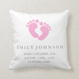 Baby Feet Baby Girl Birth Announcement Pillow