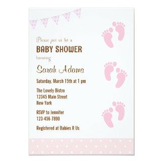 "Baby Feet Baby Shower Invitation Pastel 5"" X 7"" Invitation Card"