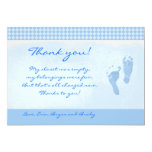 "Baby Feet Blue Baby Shower Thank you Flat card 5"" X 7"" Invitation Card"
