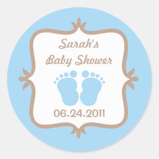 Baby Feet Blue Round Sticker