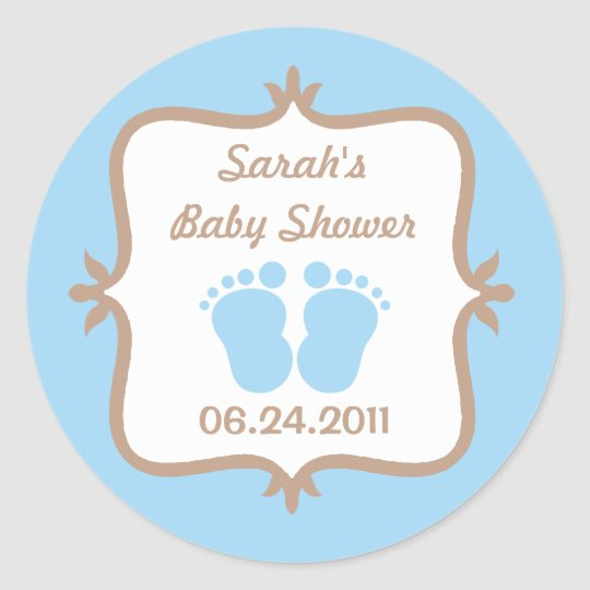 Baby Feet Blue Round Sticker