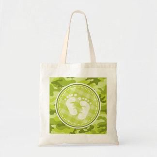 Baby Feet bright green camo camouflage Tote Bag