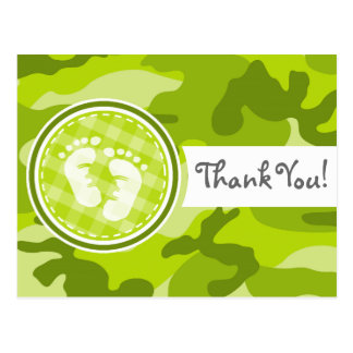 Baby Feet; bright green camo, camouflage Postcard