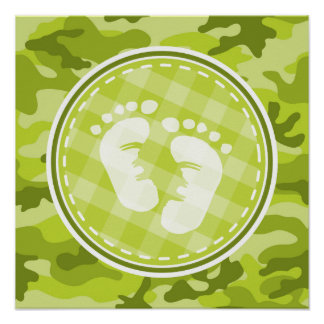 Baby Feet; bright green camo, camouflage Poster