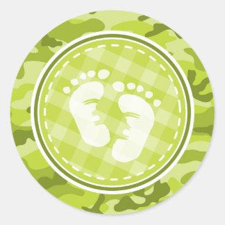 Baby Feet bright green camo camouflage Round Sticker