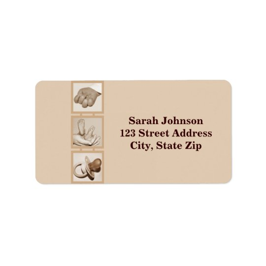 Baby feet, hand and pacifier_Label Address Label