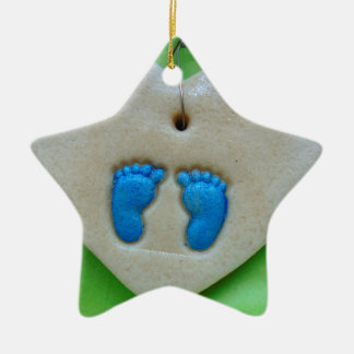 baby feet in blue christmas ornament