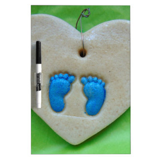 baby feet in blue dry erase white board