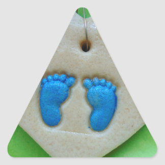baby feet in blue triangle sticker