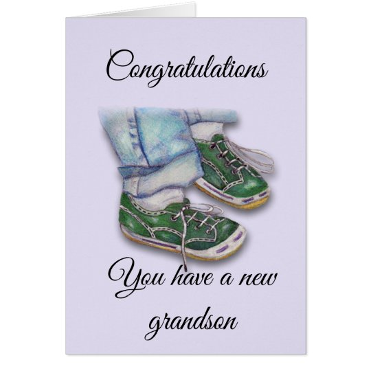 Baby Feet in Sneakers, New Grandson Card