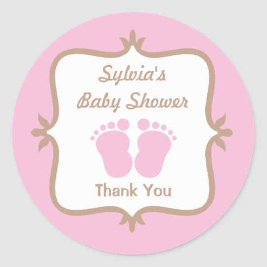 Baby Feet Pink Round Sticker