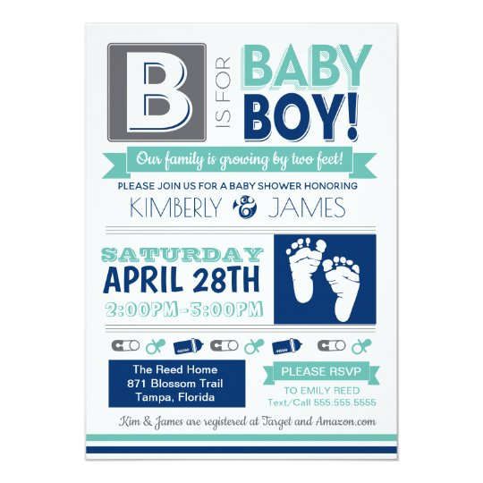 Baby Feet Poster Style Boy Shower Invitation