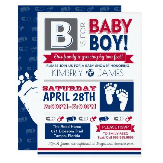 Baby Feet Poster Style Boy Shower Invitation 2