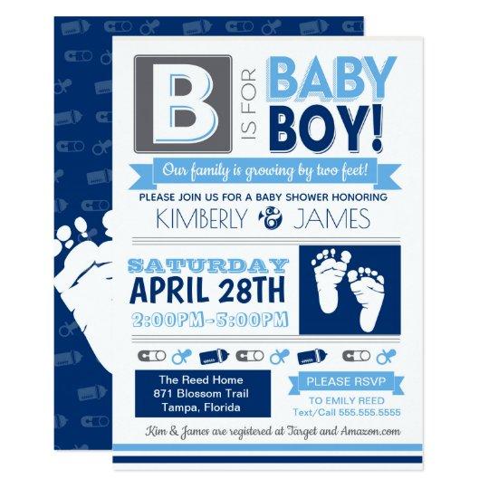 Baby Feet Poster Style Boy Shower Invitation 3