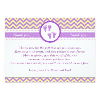 Baby Feet Yellow Purple Twins Party Thank You Card 13 Cm X 18 Cm Invitation Card
