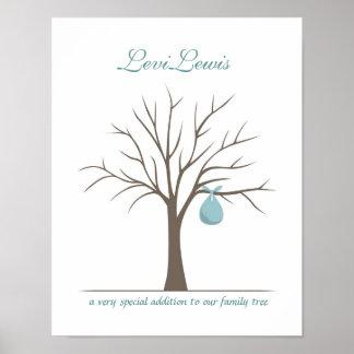 Baby Fingerprint Tree - Blue Poster