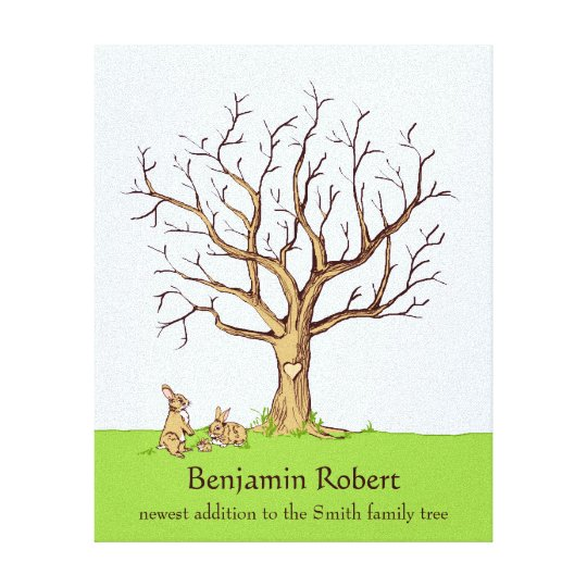 Baby Fingerprint Tree (Colour Bunnies) Canvas Canvas Print