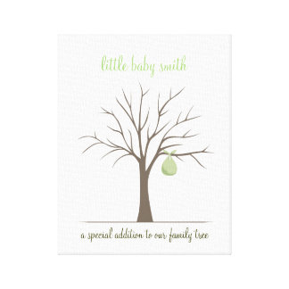 Baby Fingerprint Tree – Green Canvas Print