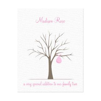 Baby Fingerprint Tree – Pink Canvas Print