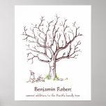 Baby Fingerprint Tree Poster (Bunnies)