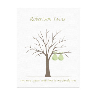 Baby Fingerprint Tree – Twins Stretched Canvas Prints