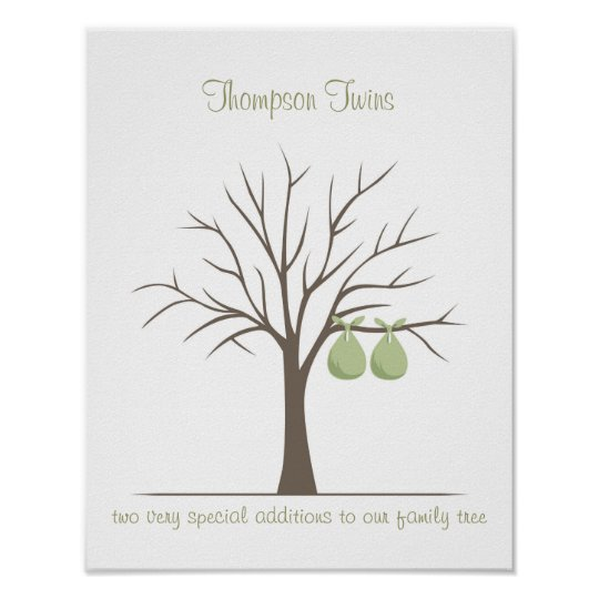 Baby Fingerprint Tree - Twins Poster