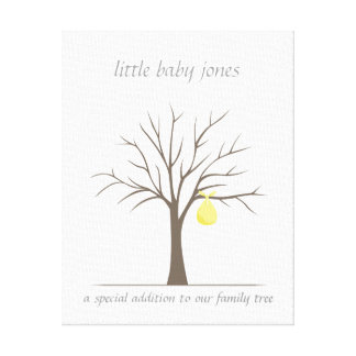 Baby Fingerprint Tree – Yellow Canvas Print