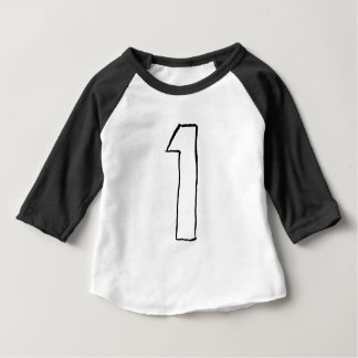 Baby First Birthday 3/4 Sleeve Raglan Black Baby T-Shirt