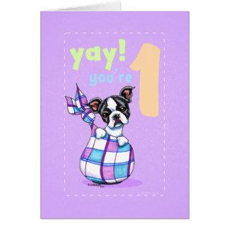 Baby First Birthday Age 1 Boston Puppy Greeting Card