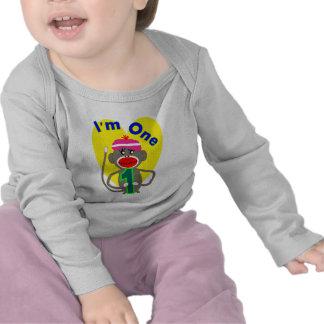 Baby First Birthday I m One Sock Monkey Design T Shirts