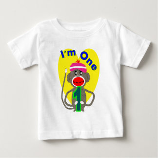 "Baby First Birthday ""I'm One"" Sock Monkey Design Tee Shirts"