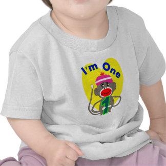 """Baby First Birthday """"I'm One"""" Sock Monkey Design Tshirt"""